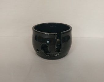 YARN BOWL - Standard Black - Hand Made Wheel Thrown Ceramic #677