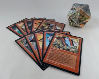 Mtg LIFE COUNTER - Red Fallen Empires - D20 20 Sided Die Handmade From CCG Cards #76