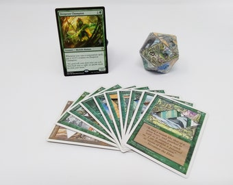 Mtg LIFE COUNTER - Green 4th Fourth Edition - D20 20 Sided Die Handmade From CCG Cards #72 - Plus Free Promo Card!