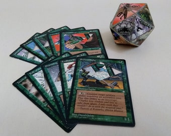 Mtg LIFE COUNTER - Green Ice Age - D20 20 Sided Die Handmade From CCG Cards #70
