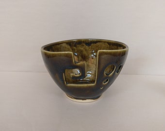 YARN BOWL - Amber Spiral Cut - Hand Made Ceramic #793