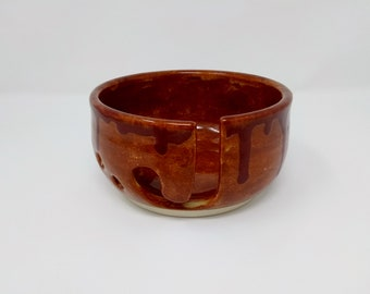 YARN BOWL - Dripping Albany Firebrick Standard Cut - Hand Made Ceramic #848