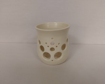 CANDLE HOLDER - White - Hand Made Ceramic #34