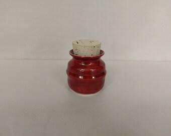 CORKED HERB JAR - Deep Firebrick - Handmade Ceramic #326