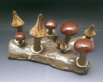 MUSHROOM LOG - Mixed Albany Firebrick - Handmade Ceramic #20