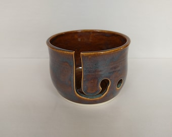 YARN BOWL - Iron Lustre Reverse Cut - Hand Made Ceramic #768