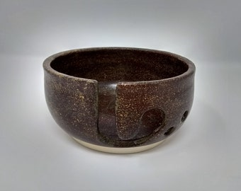 YARN BOWL - Temmoku Revers J Cut - Hand Made Ceramic #849