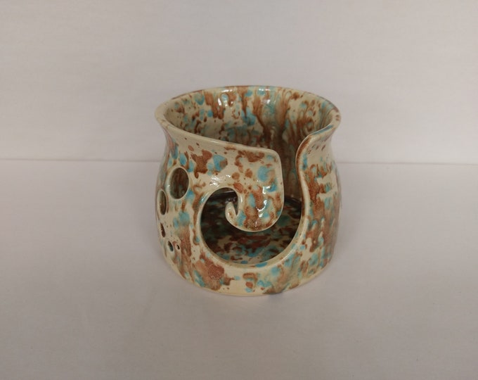 Featured listing image: YARN BOWL - Mocha Marble Spiral Cut - Hand Made Ceramic #781