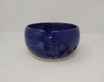 YARN BOWL - Blue Reverse J Cut - Hand Made Ceramic #859