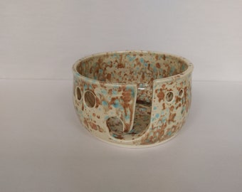 YARN BOWL - Mocha Marble Standard Cut - Hand Made Ceramic #782
