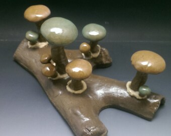 MUSHROOM LOG - Round Peach Celedon - Handmade Ceramic #21