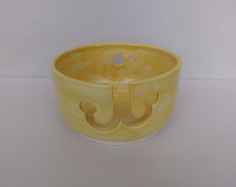 YARN BOWL - Sunflower Yellow Double J Cut - Hand Made Ceramic #798