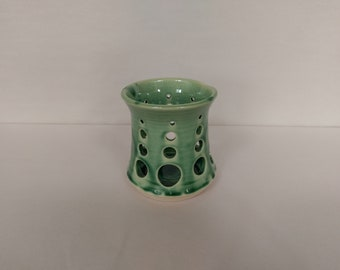 CANDLE HOLDER - Forest Green - Hand Made Ceramic #14