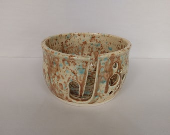 YARN BOWL - Mocha Marble Standard Cut - Hand Made Ceramic #791