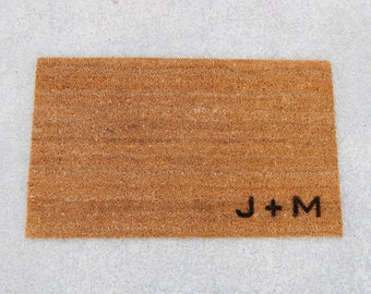Doormat / Welcome Mat Personalized with Custom Initials  -  made from natural coir