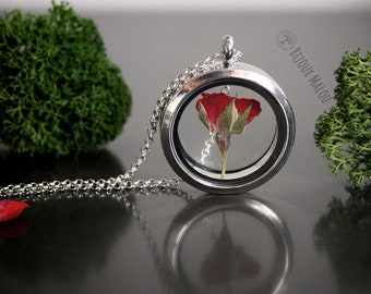 Dry Pressed Rose Necklace Real Nature Jewellery Forever Rose Locket Glass Terrarium Romantic Gift For Her Girlfriend Women Silver Roses