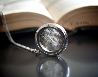 Dandelion Necklace Real Dried Dandelion in Glass Locket Terrarium Jewellery Woodland Nature Gift for Her Luck Wishing Necklace Birthday Long