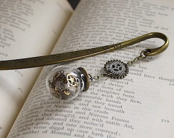 Gift for Men Steampunk Bookmark Recycled Watch Parts Father's Day Gift For Dad Father Gears Bookmark Steampunk Terrarium Cogs Unique Gift