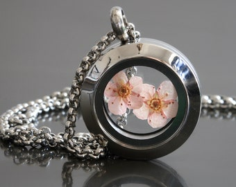 Dried Pink Blossom Necklace Cherry Blossom Jewellery Dainty Terrarium Locket Stainless Steel Gift For Her Spring Flowers Japanese Sakura