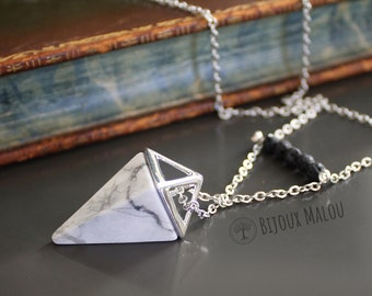 Howlite Point Necklace Geometric Stone Necklace Pyramid Shape Natural Stone Jewellery Lava Stone Necklace