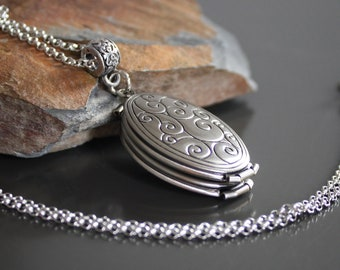 c9443a0f38 4 Picture Locket Necklace Oval Memory Locket Antique silver tone locket  grey multiple pictures locket secret message memory jewellery