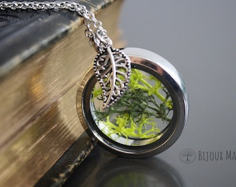 Moss Terrarium Necklace Real Moss Jewellery Nature Gift For Her Leaf Charm Moss Pendant Necklace Locket Glass Silver Tone Metal Magnet Close
