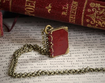 Tiny Book Necklace Antique Style Leather Bound Hardback Bronze Red Bookish Gift for Her Literary Book Lover Reader Reading Small Necklace