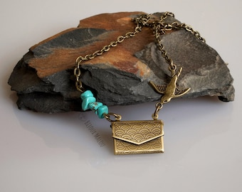 Envelope Locket Necklace Turquoise Bird Necklace with Letters/Papers for a Personal Message or Memory Small Letter Locket Everyday Necklace