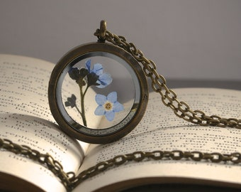 Real Forget Me Not Necklace Antiqued Bronze Locket Weathered Remembrance Gift Love Missing Gift for Woman Mother Girlfriend Family Jewellery