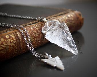 Set of Clear Quartz Arrowhead Necklace Double Necklace Silver Tone Chain Jewellery Arrow Necklace Natural Quartz Crystal Necklace