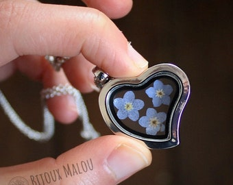 Real Forget Me Not Necklace Heart Pendant Glass Locket Dried Flower Forget Me Not Gift Memory Love Missing Jewellery Blue Flower Myosotis