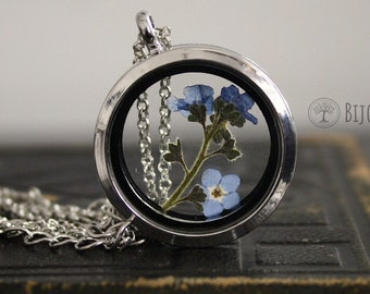 Real Forget Me Not Necklace Glass Locket Dried Flower Forget Me Not Gift Memory Gift Love Missing Jewellery Blue Flower Myosotis Pendant