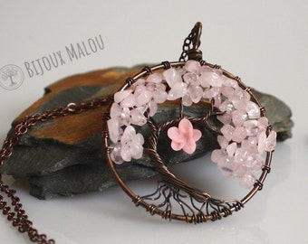Large Cherry Blossom Tree Necklace Wirewrap Wire Tree of Life Pink Quartz Hand Clayed Sakura Necklace Copper Red Pink Jewellery Japanese