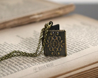Small Book Locket Memory Locket Necklace Bronze Antiqued Rectangular Short Necklace Victorian Photo Picture Keepsake Message Gift For Her