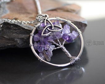 Amethyst Wire Tree Necklace With Celtic Knot Trinity Triquetra Rhodium Silver Tone Metal Wirewrap Amethyst Necklace Mystical Goth Jewelry