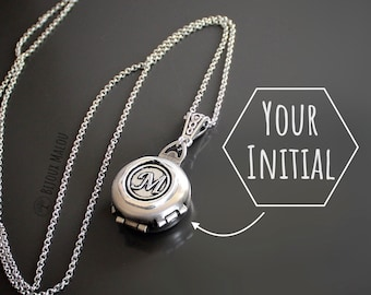 Initial Locket Necklace Personalised Jewellery Steampunk Victorian 4 Picture Locket Multiple Picture Lockets Wax Stamp Letter Gift Silver