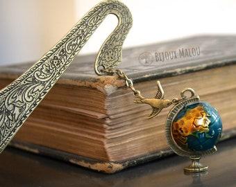 Globe Bookmark Bird Antique Style Spinning Globe Worldmap World Bookmark for Books Geography Gift For Him or Her Traveller Wanderlust Gift