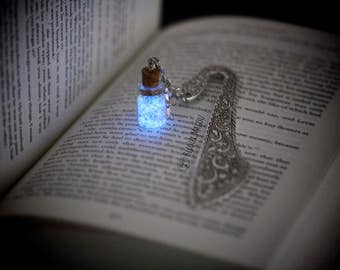 Glowing Bookmark Glow in the Dark and Glitter Bottle on Metal Silver Glow in the Dark Fairydust Bookmark celestial stars Gift Light