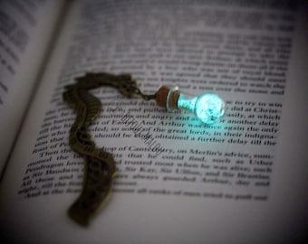 Dragon Glow in the dark Bookmark Dragon Celtic bookmark Bottle Bookmark Fantasy Book Gift Small Gift Nerdy Gift Metal Bookmark Green Blue