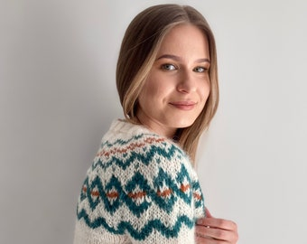 Ready to ship White Icelandic sweater Size S