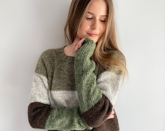READY TO SHIP Lettlopi Icelandic wool Green / Brown / Gray sweater