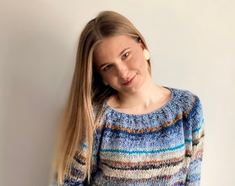 READY TO SHIP brown / blue Boho style pure wool sweater
