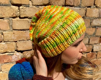 Hand knitted Yellow beanie hat