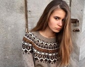 Fair Isle sweater Taupe Icelandic sweater Made to order