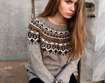 Fair Isle sweater Icelandic sweater Nordic sweater Knit pullover Knit jumper  Taupe sweater Womenu0027s sweater Norwegian sweater Made to order