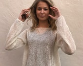 Summer sweater Linen cotton sweater White sweater Women's sweater Summer knit Hand knit sweater