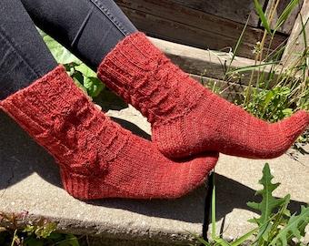 Ready to ship Hand knitted  orange socks