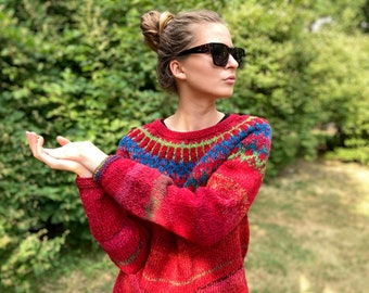 Ready to ship Red / Green Fair Isle sweater Icelandic sweater Size M/L