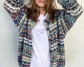 Fair Isle cardigan Wool cardigan Women's sweater Hand made cardigan Made to order