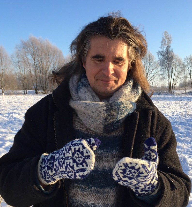 READY TO SHIP Fair Isle Wool Ethnic Latvian Men/'s mittens